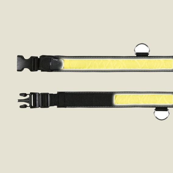Blikací nylonový obojek pro psa - žluto/černý 40-55/35mm